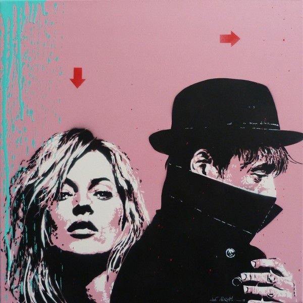 JEF AEROSOL 2013 : Kate Moss & Pete Doherty. Stencil on canvas / pochoir sur toile 70 x 70 cm