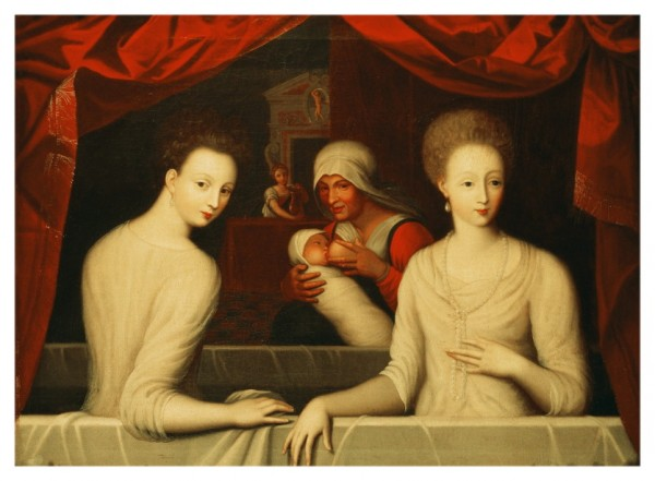 Gabrielle d'Estrees (1573-99) and her sister, the Duchess of Villars (oil on canvas)
